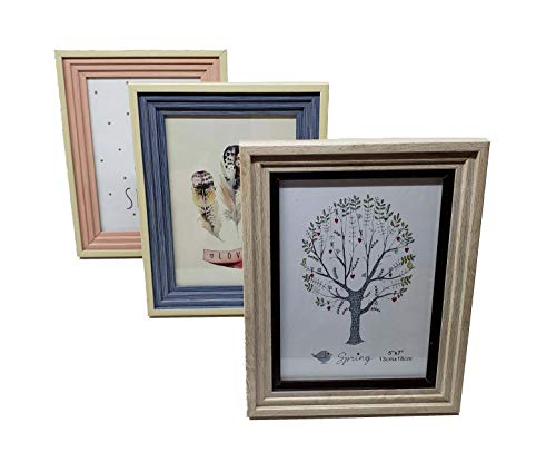 THE UM24 Assorted Color 5x7 Table Top Picture Frame with Built-in Stand, Set of 3 (Creme)