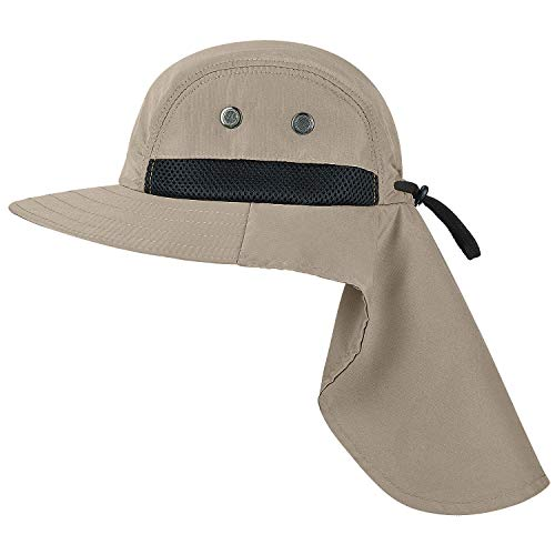 09118425 Tirrinia Outdoor Sun Protection Fishing Cap with Neck Flap Wide Brim Hat  for Safari Hiking Hunting Gardening and Outdoor Khaki