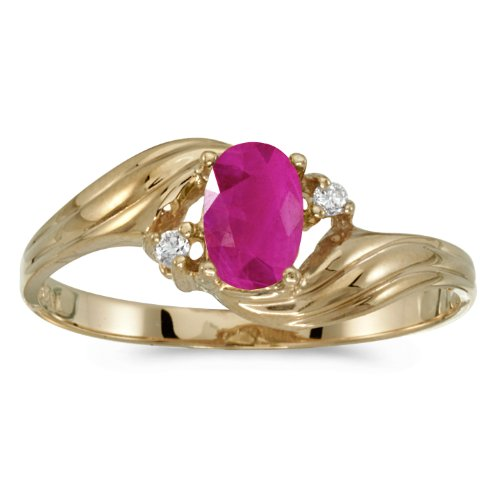 Jewels By Lux 14k Yellow Gold Genuine Red Birthstone Solitaire Oval Ruby And Diamond Wedding Engagement Ring - Size 11 (0.36 Cttw.)