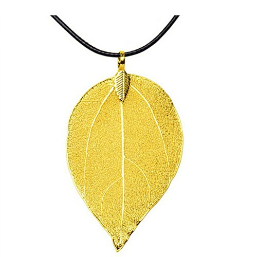 usongs Natural plated 24 gold leaf necklace pendant gilded gold leaf leaves sweater chain necklace pendant derivative gifts