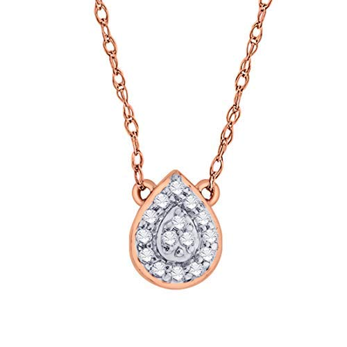 - IGI Certified Pear Drop Shape Halo Diamond Accent Frame Pendant Necklace in 10kt Rose Gold (0.06 Cttw)