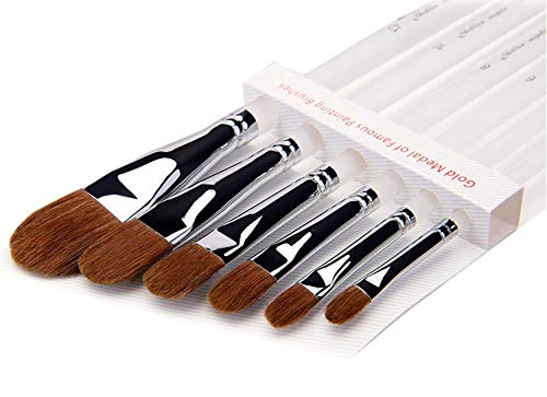 6Pcs Red Sable Hair Paint Brushes for Acrylic Oil Gouche Watercolor Painting Clear Plastic Handle
