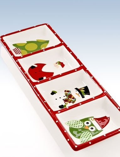 Christmas Cut-outs 4-section Relish Tray