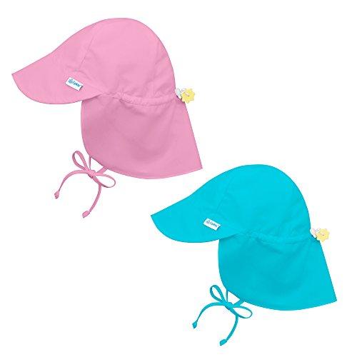 i play 2 Pack UPF 50+ Sun Protection Flap Sun Hats 2T-4T Lt Pink Aqua Blue