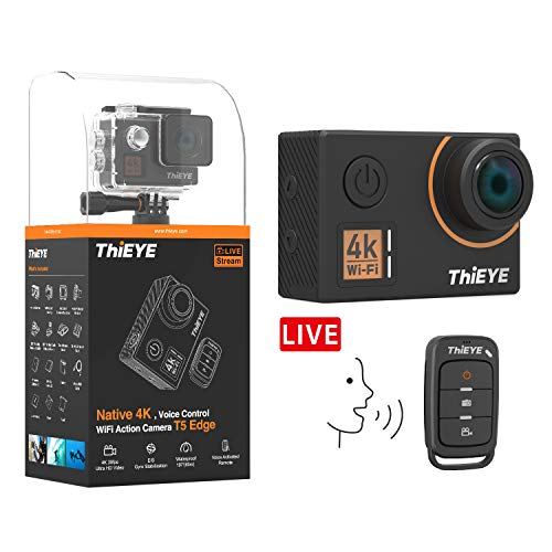 ThiEYE Action Camera Native 4K 20MP Ultra HD Video WiFi Waterproof Sports Camcorder with EIS, Voice Control, Remote Control, Live Stream, 170 Wide Angle and Mounting Accessories Kits(T5 Edge)