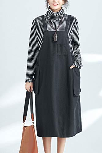 Fasumava Les en Coton Les Jupes Printemps Black en Jupe Gaines Automne Femmes Poches rSRxrqw4v