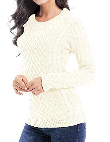 v28 Women Crew Neck Knit Stretchable Elasticity Long Sleeve Sweater Jumper Pullover (Medium, - Cable Knit White Sweater