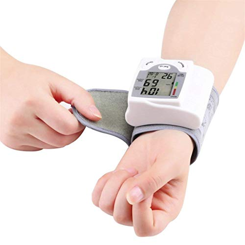 Blood Pressure Monitor Wrist Accurately Detects Blood Pressure Heart Rate and Irregular Heartbeat, Large LCD Display (White) ()