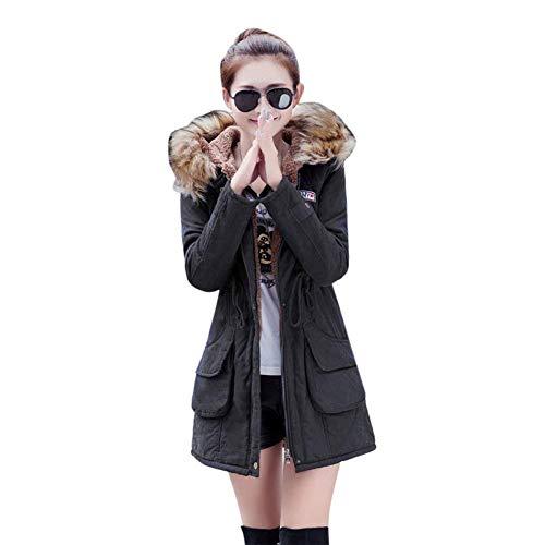 Addensare Estilo Invernali Con Tasca Manica Autunno Giacche Sintetica Giacca Cappotto In Lunga Pelliccia Trapuntata Tempo Libero Vintage Fashion Especial Donna Schwarz Collo ISZxnn