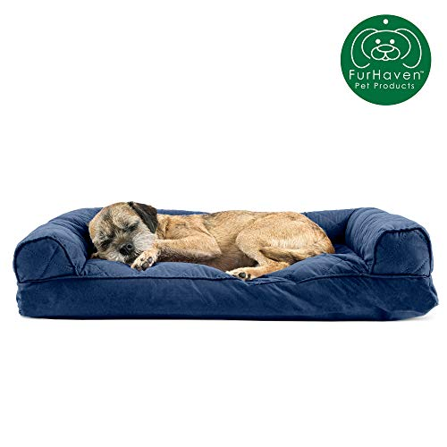 Furhaven Pet Dog Bed | Quilted Pillow Cushion Traditional Sofa-Style Living Room Couch Pet Bed w/ Removable Cover for Dogs & Cats, Navy, Medium