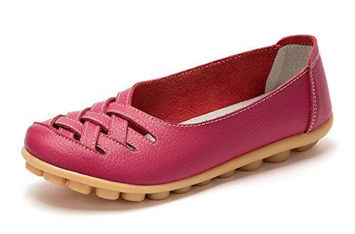 Auspicious beginning New Leather Moccasins Hollow out Flats Loafers for Women Rose Red