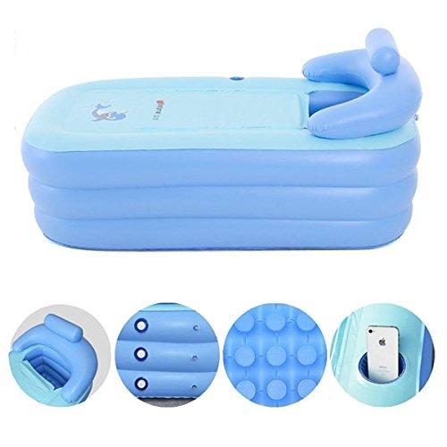 Bathtub Pool - Adult Portable Environmental PVC Folding Inflatable Air Bath Tub Warm Inflatable Bath Tub Pool Soa For Bathroom SPA,Children Swimming Pool (63×33×30 inch) (Blue)