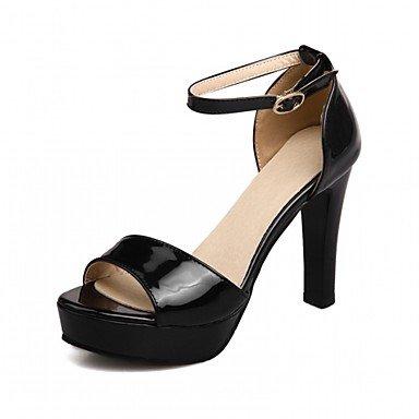 LvYuan Mujer Sandalias Semicuero PU Verano Otoño Paseo Hebilla Tacón Robusto Blanco Negro Plata Beige 10 - 12 cms Black