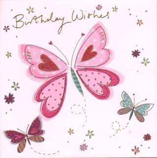 Amazon.com: Deseos de cumpleaños (mariposas), tarjeta de ...