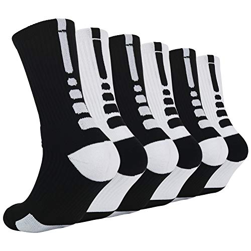 Thick Protective Sport Cushion Elite Basketball Compression Athletic Socks for Boy Girl Men Women (Pack of 3-6) (One Size, A 6Pairs- 4) (Elite Basketball Crew Socks)