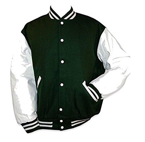 Original Windhound College Jacke englisch grün mit weißen Echtleder Ärmel L