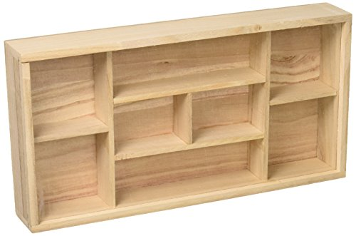 Darice Wood Shadow Box, Unfinished, 8 Compartments