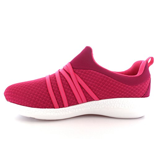 Trainers Lightweight Pump Mesh Women s Comfy Pink Flat Walking White Padded Shoes H8z8Xwnq