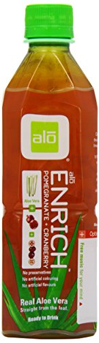 ALO Enrich Aloe Vera Juice Drink Pomegranate Plus Cranberry 16.9  Fl. Oz (Pack of 12) Cane-Sugar Sweetened Aloin-Free No Artificial Flavors Preservatives or Colors Gluten Free Vegan