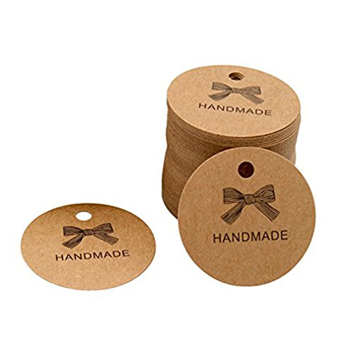 Iumer 100 Sheet/Pack Kraft Tags Handmade Made with Love Sign Paper Tag Wedding Party,Handmade tag ()