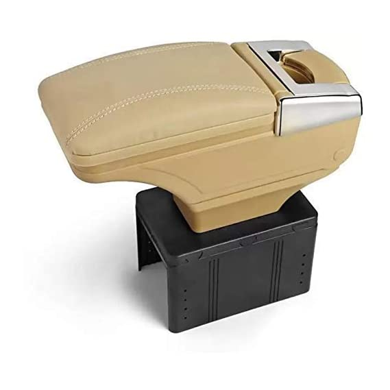 Semaphore Car Armrest with Glass Holder & Ash Tray Beige & Chrome for Audi A1