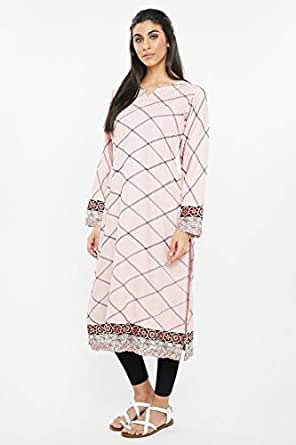 nukhbaa Baby Pink Round Neck Long Line Top For Women