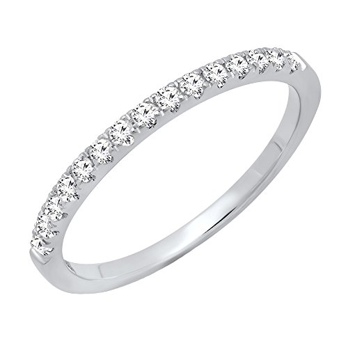 Prong Diamond Wedding Band (0.25 Carat (ctw) 14K White Gold Round Diamond Ladies Stackable Wedding Band 1/4 CT (Size 5.5))