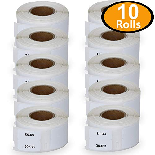 10 Rolls Dymo 30333 Compatible 1/2 x 1(12mm x 24mm) LabelWriter Self-Adhesive White Extra Small 2-Up Multipurpose Labels