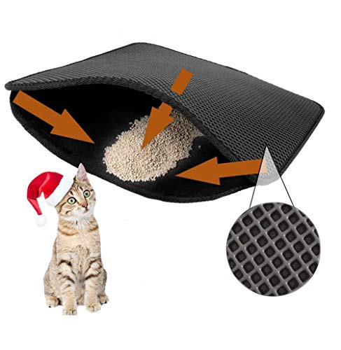 WALOTAR YOUWEIEC Cat Litter Mat Large Size 28 in X 22 in Double Filter Mat Prevent Cat Litter from Coming Out Honeycomb Design Easy to Clean Mat (Black)