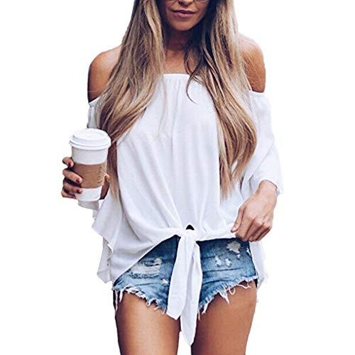 Masterein Femmes Filles Hors paule Dos Nu 3/4 Trompette Manches Knot Hem Tops T-Shirts blanc