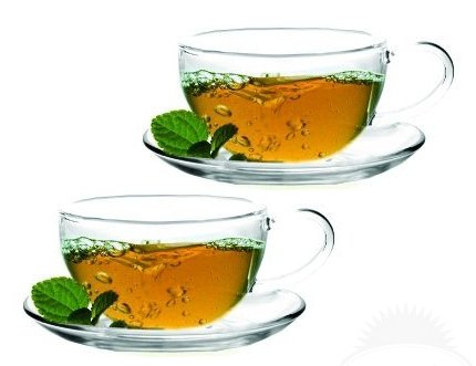 Sun's Tea (TM) 8oz Ultra Clear Glass Tea/Coffee Cup & Clear Glass Saucer, Set of 2 - Exclusively sold by Sun's Tea