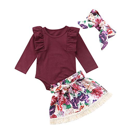 Infant Baby Girls Floral Outfit Set Blessed Print Romper Floral Ruffle Shorts Clothes with Headband (Wine Red, 6-12 Months) by Fillsion (Image #1)