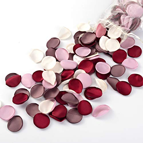 (Breeze Talk Artificial Flowers Silk Rose Petals Flower Girl Scatter Petals for Wedding Aisle Centerpieces Table Confetti Party Favors Home Decoration (Red Wine/Blush/Mauve/Ivory, 200))