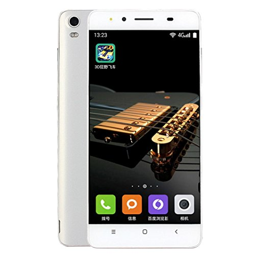Freshzone 5Inch Ultrathin Android 6.0 Octa-Core 4G+2G 4G/GSM WiFi Bluetooth Dual SIM 3.0MP Dual Camera Smart Cellphone (White)