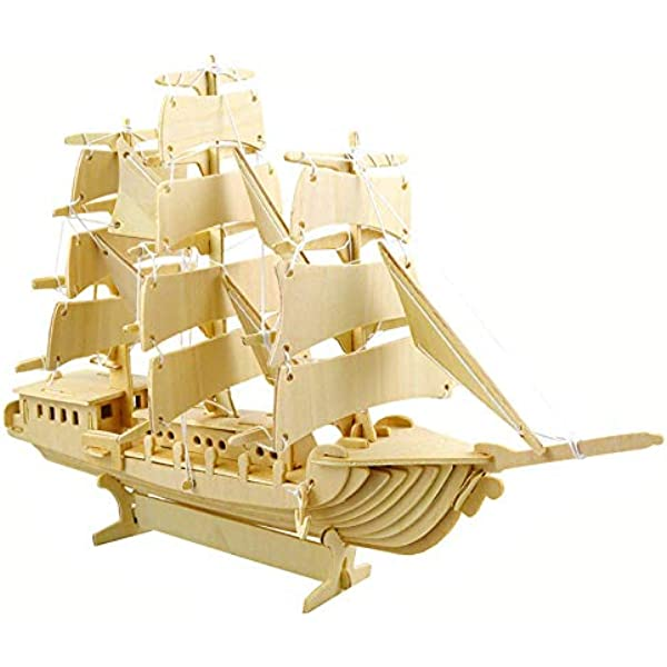 Childs Holzbau Modell 3D Puzzles DIY Spielzeug Geduldspiele Of Life Boat Ship