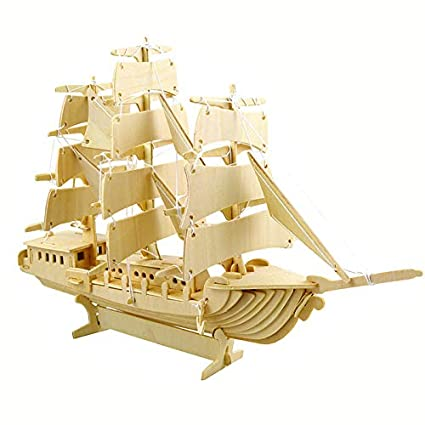 Amazon Com Zacheillo 3d Wooden Puzzle Sailing Ship Model