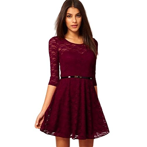 Misaky Womens Sexy Lace Hollow Clubwear Evening Party Dress with Belt (Asian M, Wine)