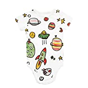 BEECOOLESTCOMPANY Bamboo/Organic Cotton Unisex Baby Galaxy Picasso Baby Onesie 3-6 Months White