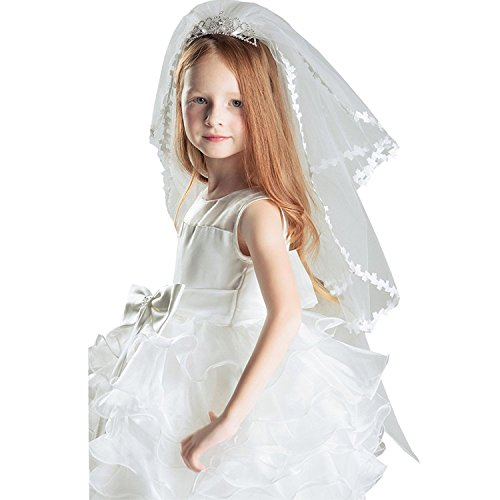 SlenyuBridal Girl's Two Layers First Communion Veils with Crystal Tiara Crown for Party (One Size, -