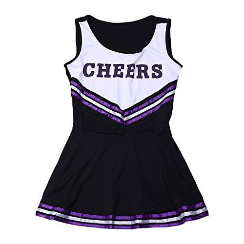 d85dae0a793404 ... Freebily Damen Reizwäsche Cheerleader Kostüm Uniform Karneval  Bekleidung Dessous Set Schwarz LfxiB ...
