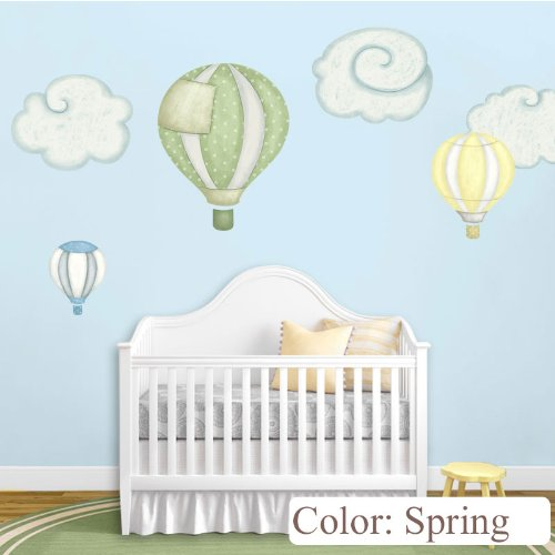 My Wonderful Walls Hot Air Balloon Decals and Cloud Wall Stickers for Baby Room Nursery, Spring