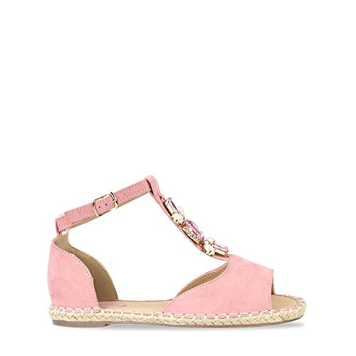Akira Ladies Women Flat Anklestrap T-Bar With Diamante And Gemstones Open Toe Espadrille Shoe PINK MICRO