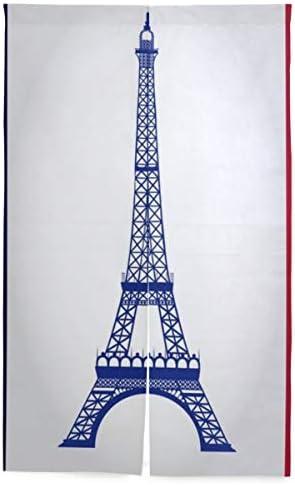 NIESIKKLA 間仕切りカーテン,フランスの旗の背景の上のエッフェル塔,断熱幅86cm×丈143cm キッチン居間耐久性 風水パーティション夏 冬