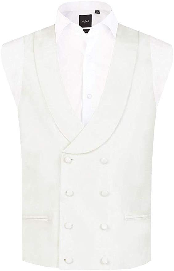 1920s Fashion for Men Dobell Mens Ivory Waistcoat Regular Fit Double Breasted Shawl Lapel Dupion £29.99 AT vintagedancer.com