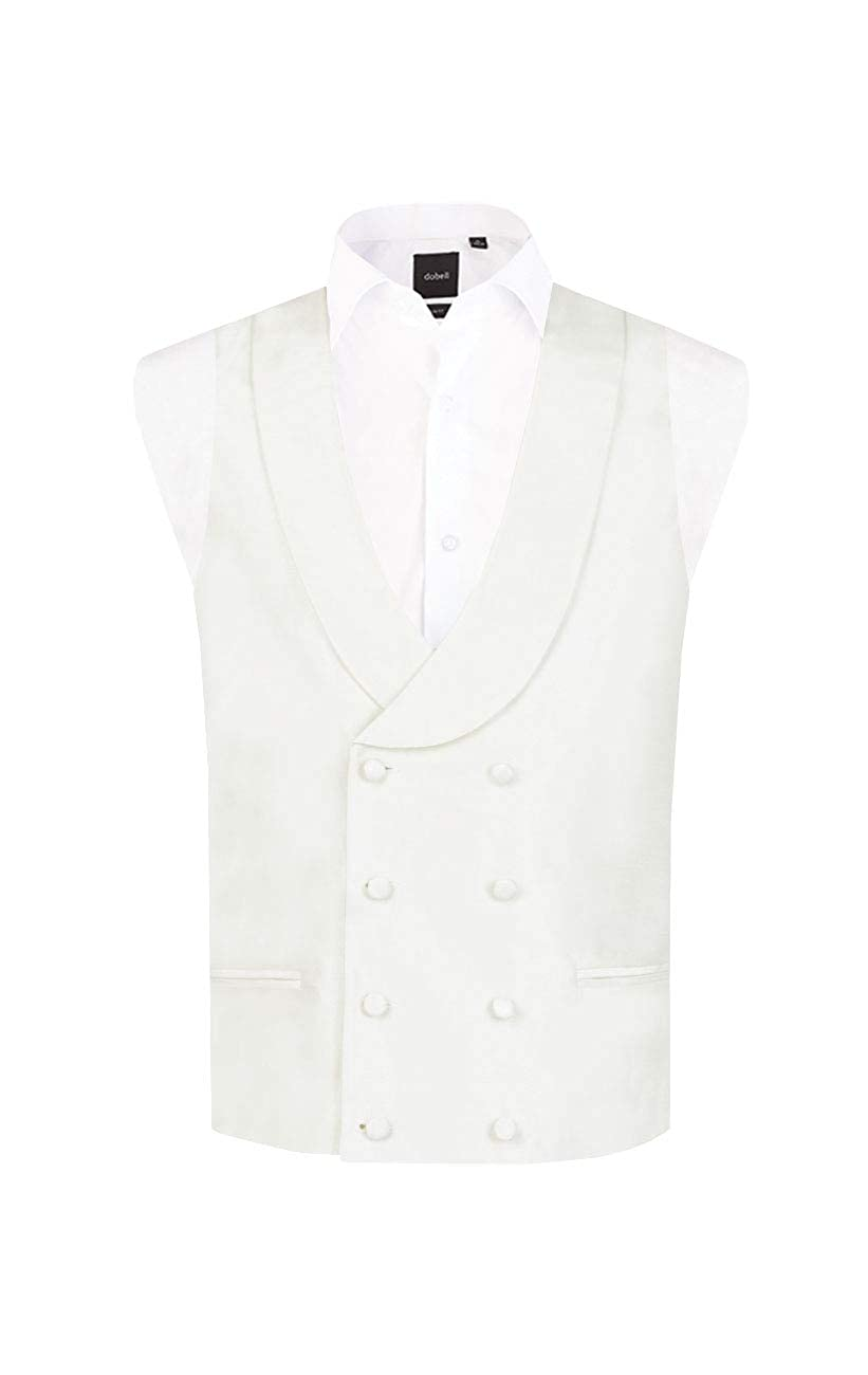 1920s Style Mens Vests Dobell Mens Ivory Vest Regular Fit Double Breasted Shawl Lapel Dupion $39.95 AT vintagedancer.com