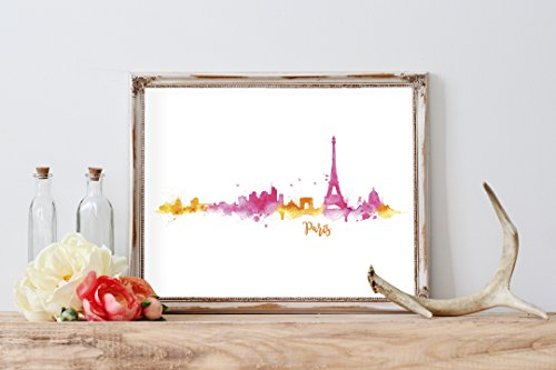 Watercolor Paris Silhouette Home Print | 8 x 10 | Wall Decor - Paris Watercolor