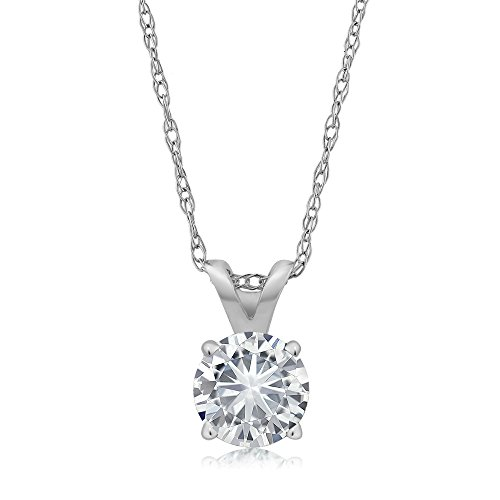 (Charles & Colvard Forever Classic 4.5mm 0.33ct DEW Created Moissanite 14k White Gold Solitaire Pendant Round 4 Prong With 18inches 14K White Gold Chain)