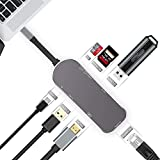 Ryphal USB C Hub, 7 in 1 Type-C 3.1 USB C Adapter, with Gigabit Ethernet, 2 USB 3.0, PD, HDMI, SD/TF Card Reader, for MacBook Pro,iMac, XPS, Chromebook, Samsung S9,Note8, HuaweiP20 & More Device(Gray)