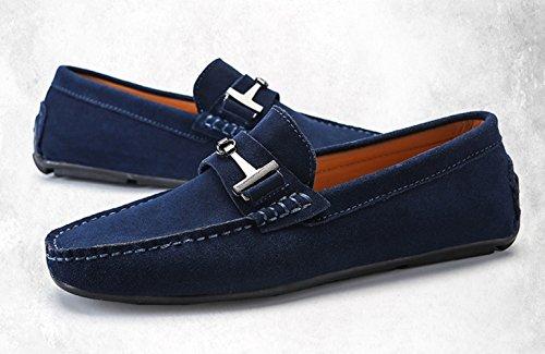 SK Slip Pelle blu On Mocassini di Eleganti Barca Guida Scarpe Nero Loafers Studio Uomo Scarpe da qCqxgRw1Ar