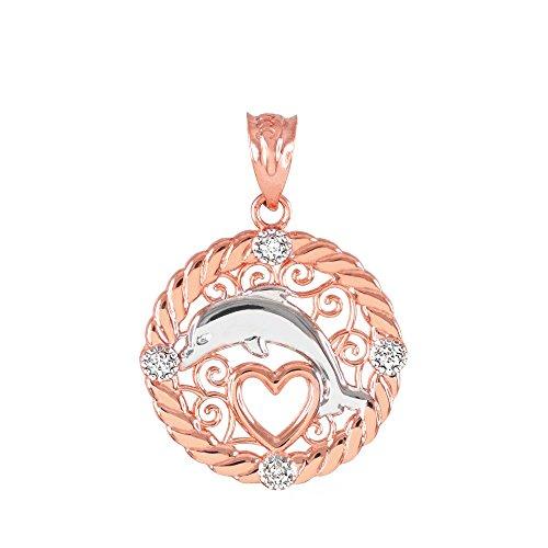 10K Or Rose Diamant sans armes en filigrane Pendentif Coeur Ouvert Charme Dolphin